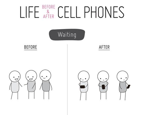 La vita prima e dopo gli smartphone: immagine completa su http://pinterest.com/pin/160511174191475053/